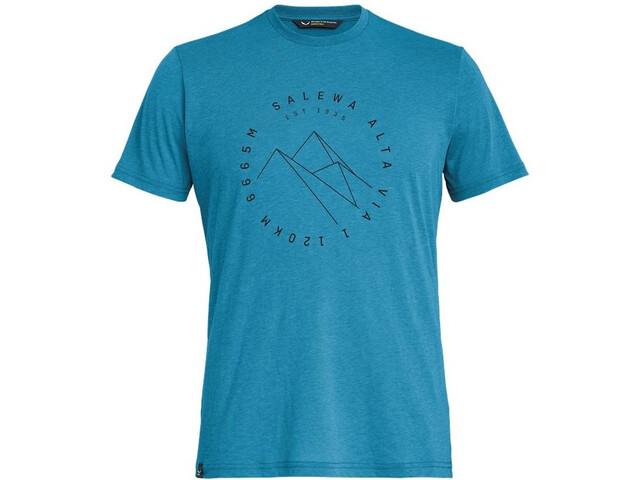 SALEWA Alta Via Dri-Release Camiseta Manga Corta Hombre, blue danube melange
